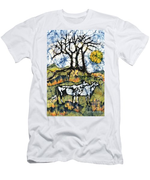 Holsiein Cows Below Autumn Trees Men's T-Shirt (Athletic Fit)