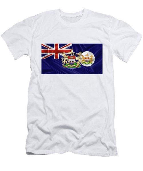 Hong Kong - 1959-1997 Historical Coat Of Arms Over British Hong Kong Flag  Men's T-Shirt (Slim Fit) by Serge Averbukh