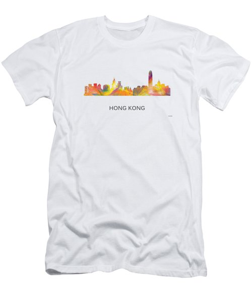 Hong Kong China Skyline Men's T-Shirt (Slim Fit) by Marlene Watson