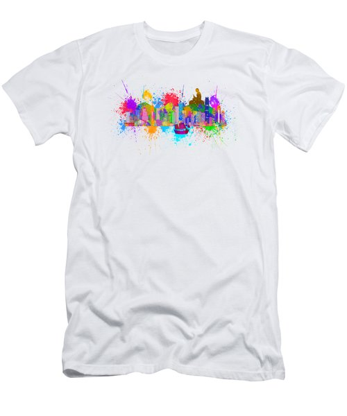 Hong Kong Skyline Paint Splatter Illustration Men's T-Shirt (Athletic Fit)