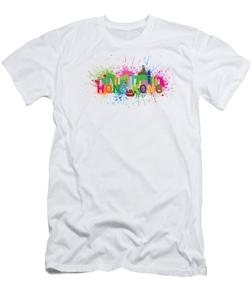 Hong Kong Skyline Paint Splatter Text Illustration Men's T-Shirt (Athletic Fit)