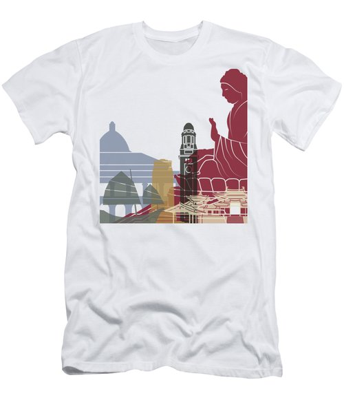 Hong Kong Skyline Poster Men's T-Shirt (Athletic Fit)