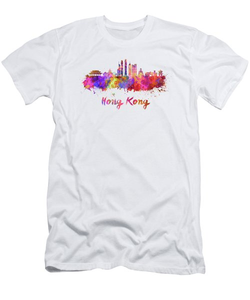 Hong Kong V2 Skyline In Watercolor Men's T-Shirt (Athletic Fit)