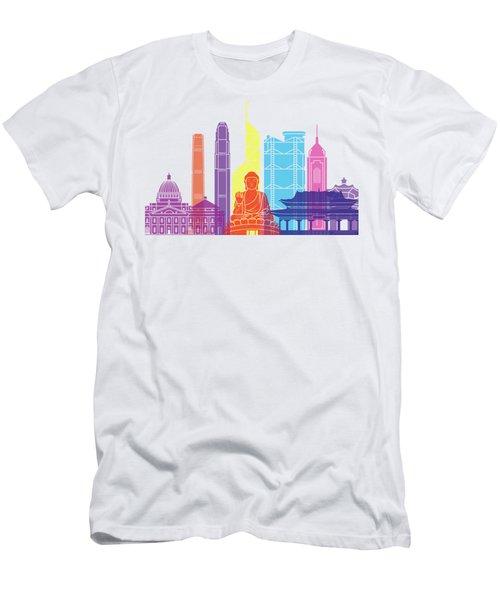 Hong Kong V2 Skyline Pop Men's T-Shirt (Slim Fit) by Pablo Romero