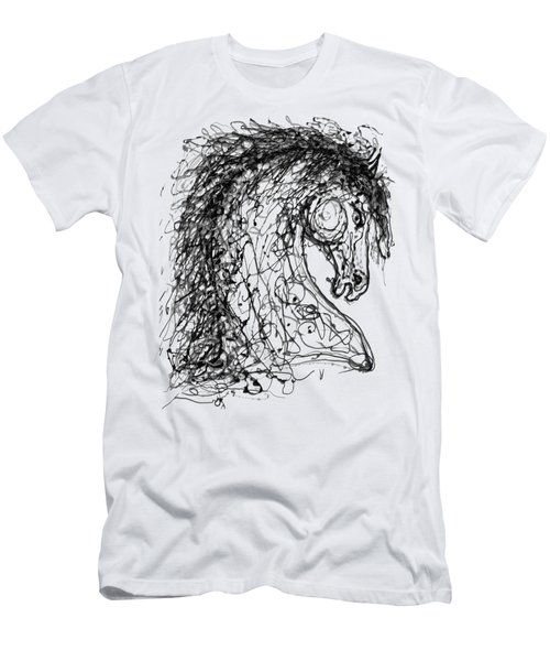 Horse  Dripped Abstract Pollock Style On #fineartamerica Men's T-Shirt (Athletic Fit)