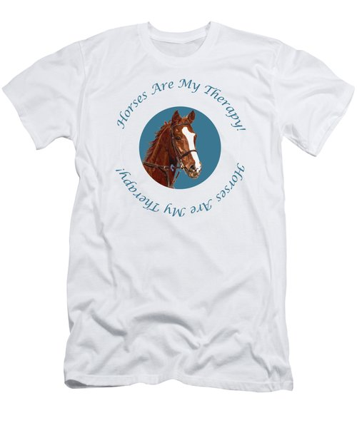 Horses Are My Therapy Men's T-Shirt (Athletic Fit)