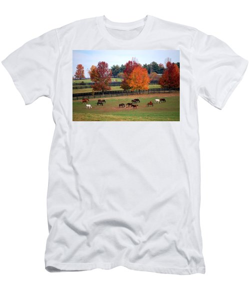 Men's T-Shirt (Slim Fit) featuring the photograph Horses Grazing In The Fall by Sumoflam Photography