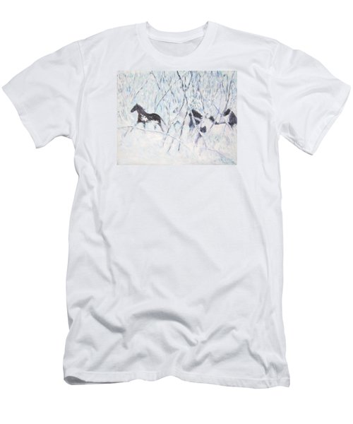 Horses Running In Ice And Snow Men's T-Shirt (Athletic Fit)