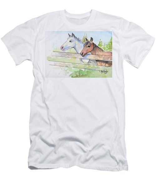 Horses Watercolor Sketch Men's T-Shirt (Slim Fit) by Olga Shvartsur