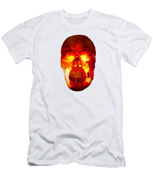 Hot Headed Skull On Transparent Background Men's T-Shirt (Athletic Fit)