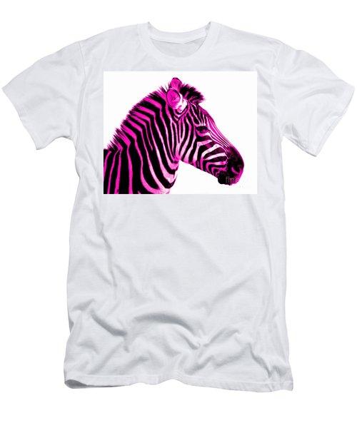 Hot Pink Zebra Men's T-Shirt (Slim Fit) by Rebecca Margraf