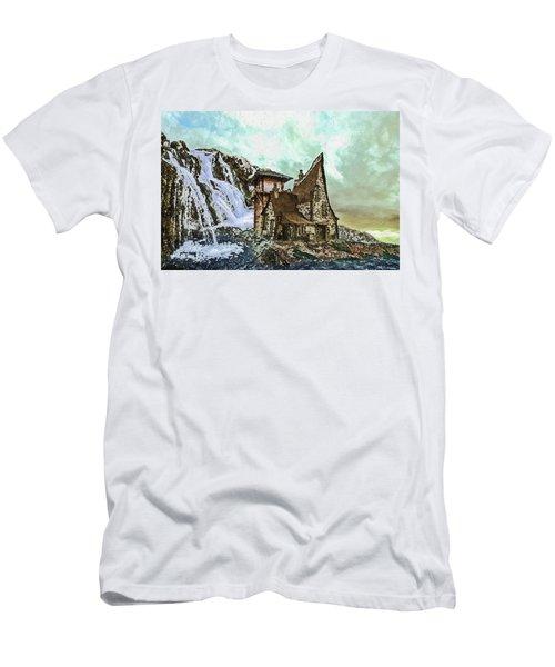 Men's T-Shirt (Athletic Fit) featuring the digital art House Near Waterfall by PixBreak Art