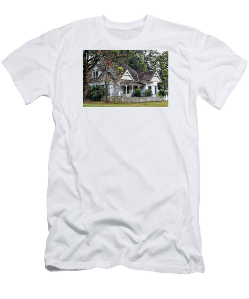 House With A Picket Fence Men's T-Shirt (Slim Fit) by Lynn Jordan