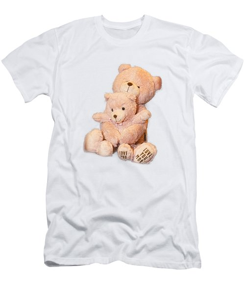 Men's T-Shirt (Slim Fit) featuring the photograph Hugging Bears Cut Out by Linda Phelps