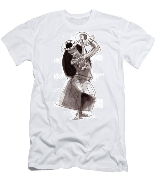 Men's T-Shirt (Athletic Fit) featuring the painting Hula Dancer Alika by Judith Kunzle
