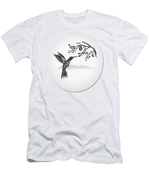 Humming Bird On Oval Men's T-Shirt (Athletic Fit)
