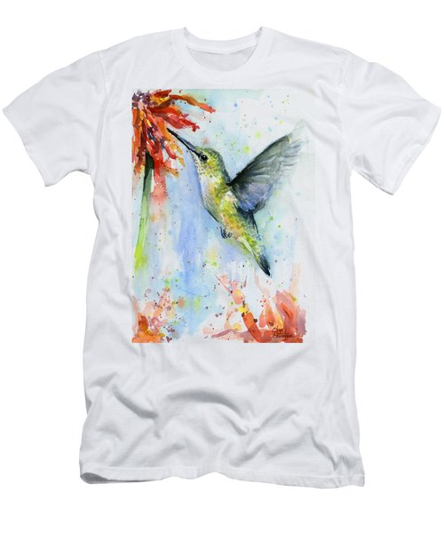 Hummingbird And Red Flower Watercolor Men's T-Shirt (Athletic Fit)