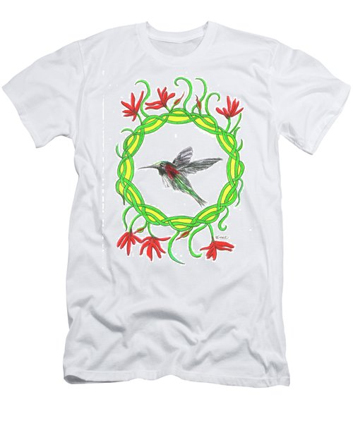 Men's T-Shirt (Athletic Fit) featuring the painting Hummingbird In Knots by Lise Winne