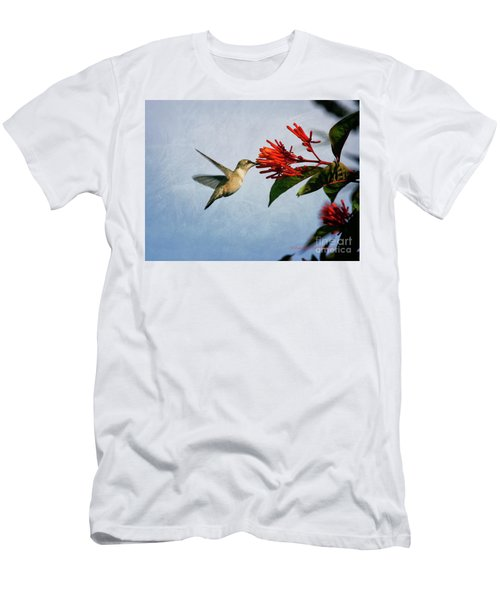 Hummingbird Red Flowers Men's T-Shirt (Athletic Fit)