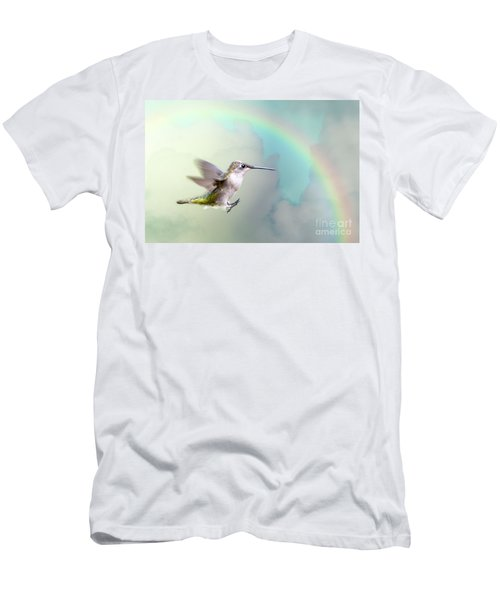 Men's T-Shirt (Slim Fit) featuring the photograph Hummingbird Under Rainbow by Bonnie Barry