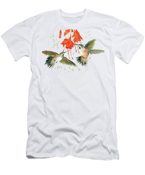 Hummingbird Watercolor Men's T-Shirt (Slim Fit) by Melly Terpening
