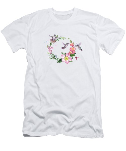 Hummingbird Wreath In Watercolor Men's T-Shirt (Athletic Fit)
