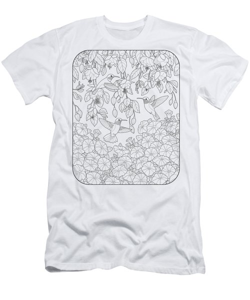 Hummingbirds And Flowers Coloring Page Men's T-Shirt (Slim Fit) by Crista Forest