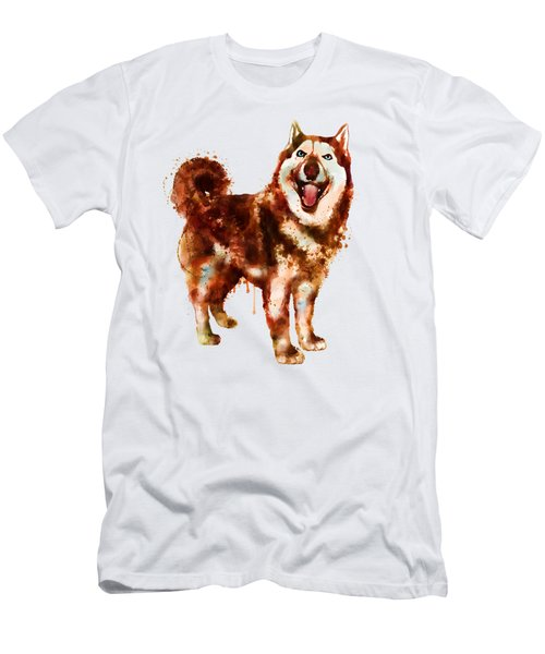 Husky Dog Watercolor Men's T-Shirt (Athletic Fit)