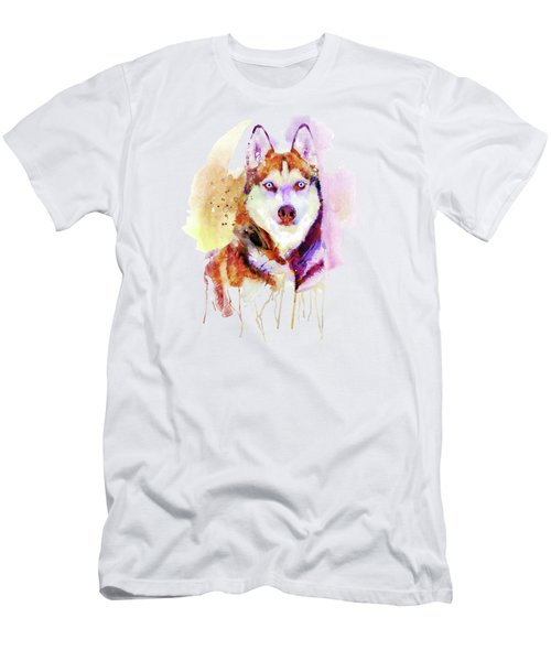 Husky Dog Watercolor Portrait Men's T-Shirt (Athletic Fit)