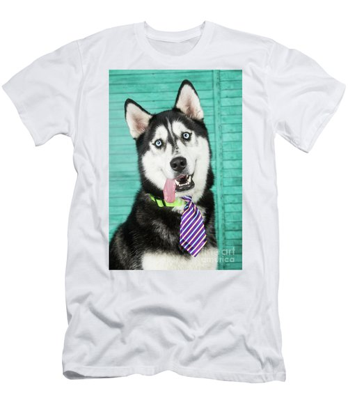 Husky With Tie Men's T-Shirt (Slim Fit) by Stephanie Hayes
