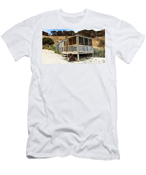 Men's T-Shirt (Slim Fit) featuring the photograph Hut At Western River Cove by Stephen Mitchell