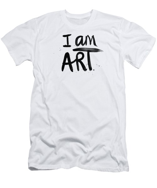 Men's T-Shirt (Slim Fit) featuring the mixed media I Am Art Black Ink - Art By Linda Woods by Linda Woods