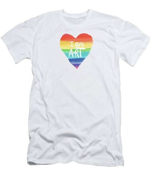 I Am Art Rainbow Heart- Art By Linda Woods Men's T-Shirt (Athletic Fit)