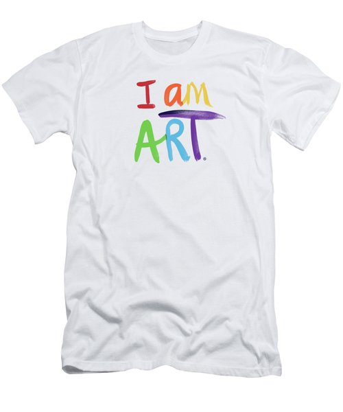 I Am Art Rainbow Script- Art By Linda Woods Men's T-Shirt (Athletic Fit)