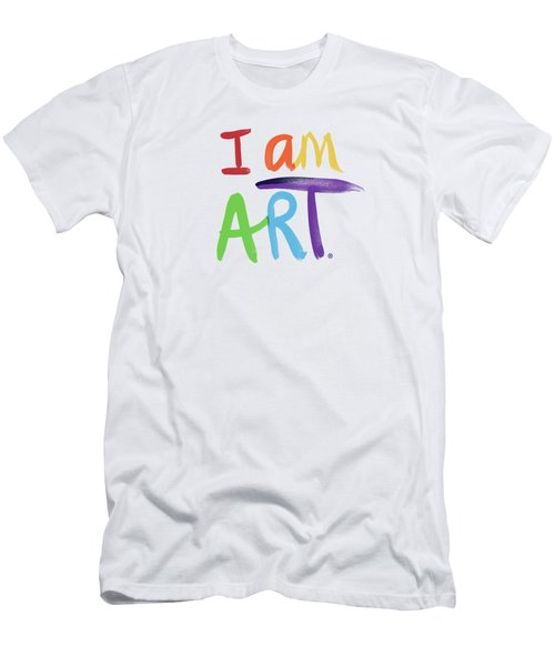 I Am Art Rainbow Script- Art By Linda Woods Men's T-Shirt (Athletic Fit)