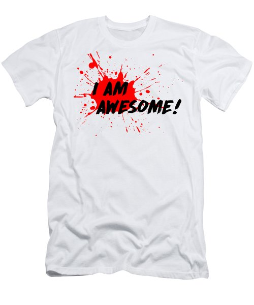Men's T-Shirt (Slim Fit) featuring the photograph I Am Awesome - Light Background Version by Menega Sabidussi