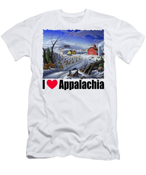 I Love Appalachia - Rural Winter Landscape Men's T-Shirt (Athletic Fit)