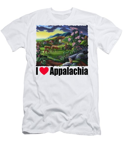 I Love Appalachia T Shirt - Deer Chipmunk High Meadow Appalachian Landscape Men's T-Shirt (Athletic Fit)