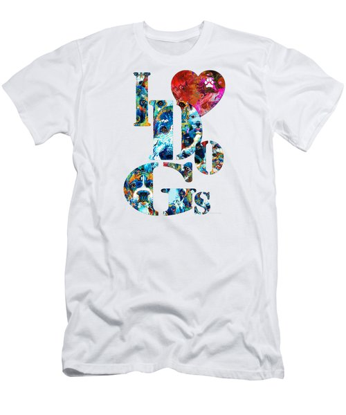 I Love Dogs By Sharon Cummings Men's T-Shirt (Slim Fit) by Sharon Cummings