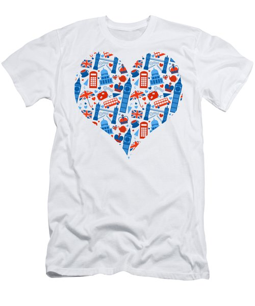 I Love England A Pattern For Anglophiles Men's T-Shirt (Athletic Fit)