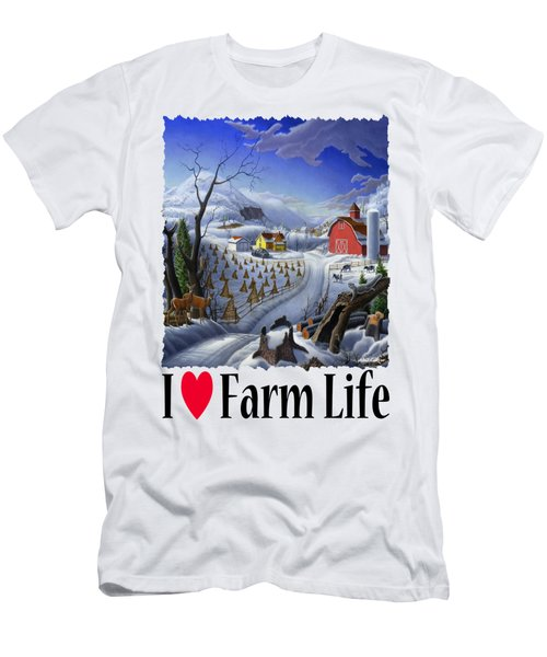 I Love Farm Life - Rural Winter Country Farm Landscape Men's T-Shirt (Athletic Fit)