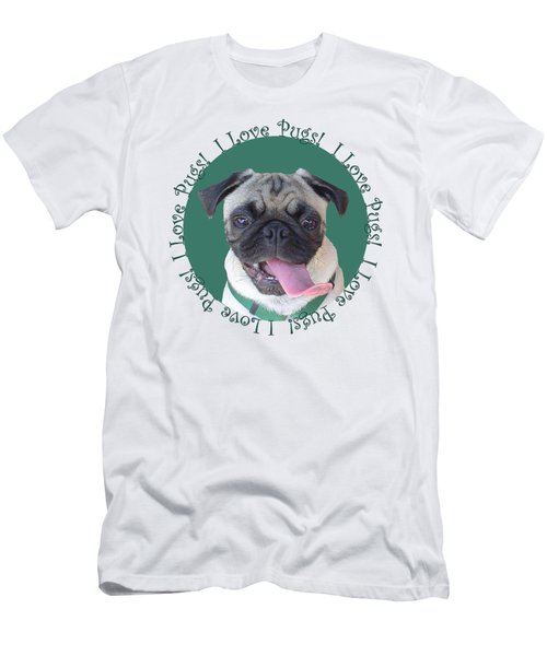I Love Pugs Men's T-Shirt (Slim Fit) by Patricia Barmatz