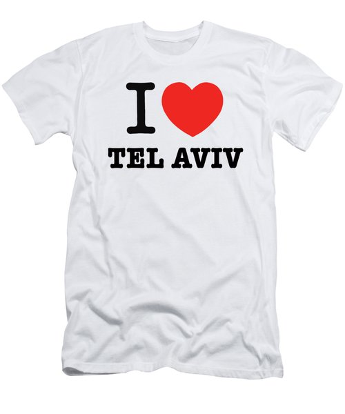 Men's T-Shirt (Slim Fit) featuring the photograph i love Tel Aviv by Ron Shoshani