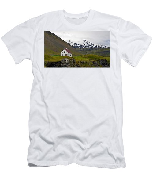 Men's T-Shirt (Slim Fit) featuring the photograph Iceland House And Glacier by Joe Bonita