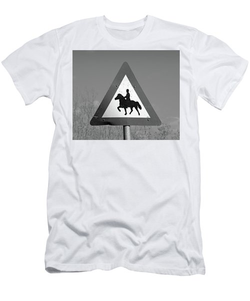 Icelandic Horse Crossing Sign Bw Men's T-Shirt (Athletic Fit)