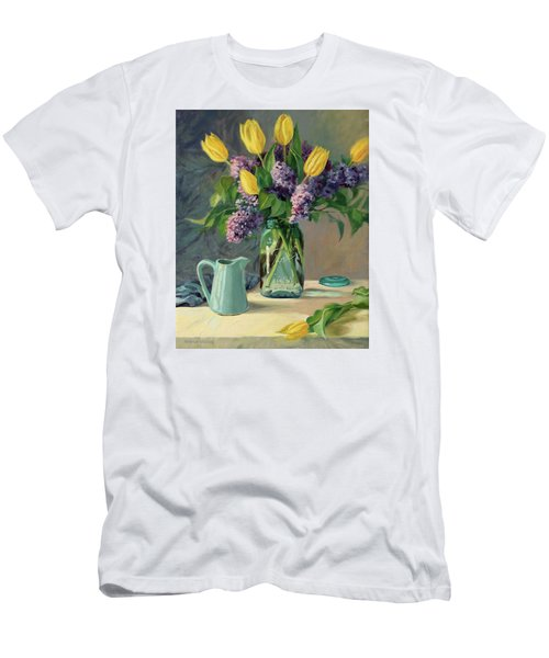 Ideal - Yellow Tulips And Lilacs In A Blue Mason Jar Men's T-Shirt (Slim Fit) by Bonnie Mason
