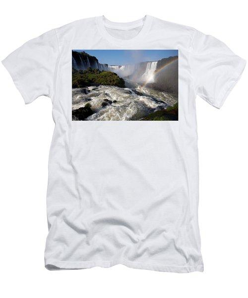 Iguassu Falls With Rainbow Men's T-Shirt (Athletic Fit)
