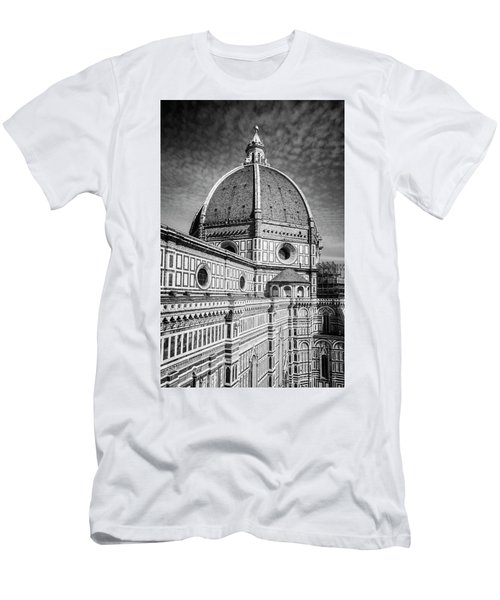 Men's T-Shirt (Slim Fit) featuring the photograph Il Duomo Florence Italy Bw by Joan Carroll