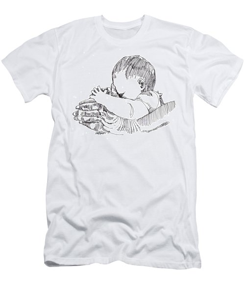 Men's T-Shirt (Slim Fit) featuring the drawing In His Hands by Seth Weaver