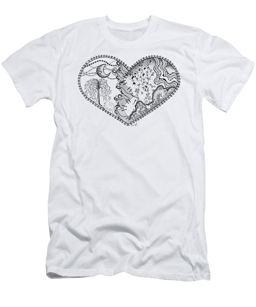 Repaired Heart Men's T-Shirt (Slim Fit) by Ana V Ramirez